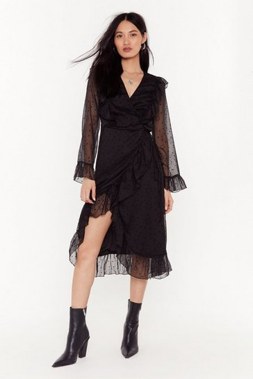 Womens Black Leave' Em Starstruck Mesh Midi Dress