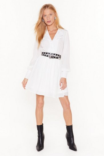 Womens White Shirt Your Feelings Embroidered Mini Dress
