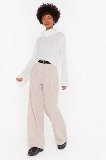 Womens Sand Gingham What They Deserve Wide-Leg Pants