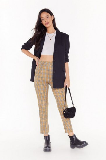Plaid Your Cards Right High-Waisted Tapered Pants, Camel, FEMMES