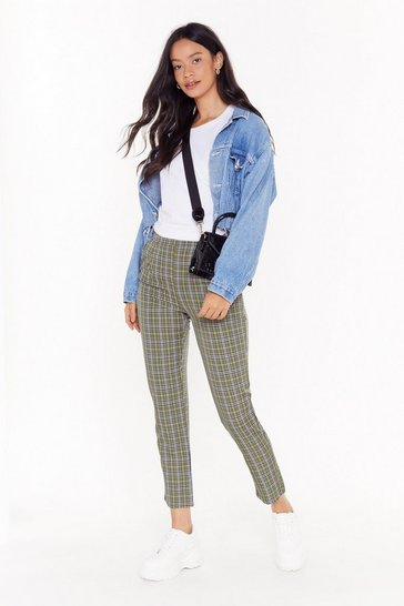 Womens Khaki Plaid Your Cards Right High-Waisted Tapered Pants