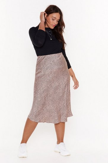 Womens Pink We've Dot Tonight Plus Satin Midi Skirt