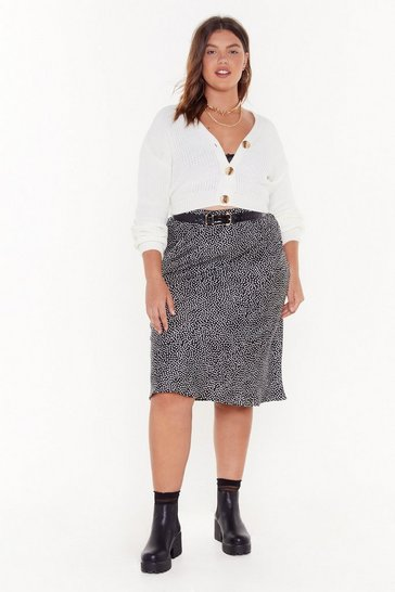 Womens Black It's Spot Over Plus Midi Skirt