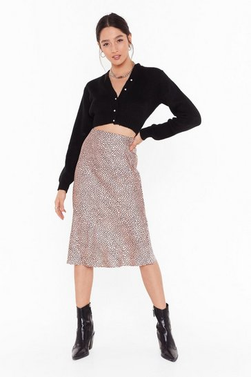 Womens Pink Spot Going Home Plus Bias Hem Midi Skirt