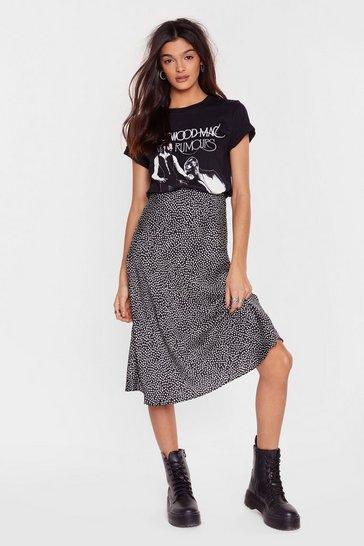 Black It's Spot Over Satin Midi Skirt
