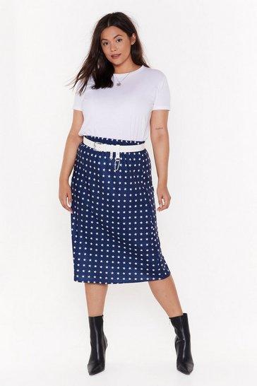 Navy Star Behavior Plus Satin Midi Skirt