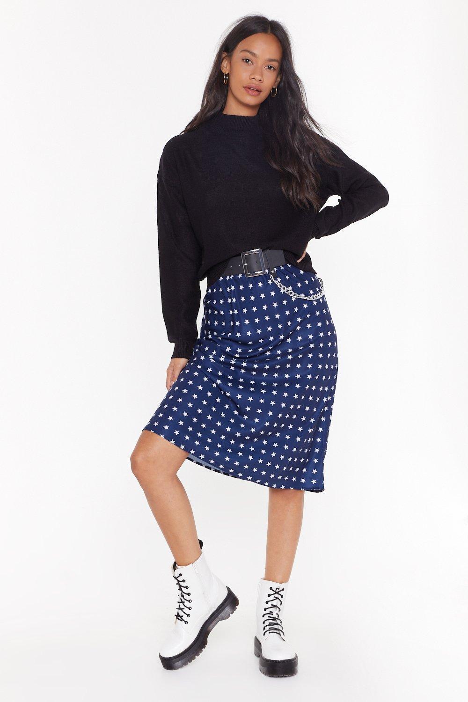 Star Behavior Satin Midi Skirt by Nasty Gal
