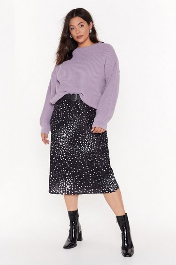 Womens Black She's Got That Star Power Plus Midi Skirt
