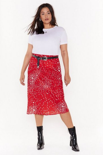 Womens Red She's Got That Star Power Plus Midi Skirt