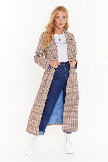 Womens Lemon Plaid with Fire Trench Coat