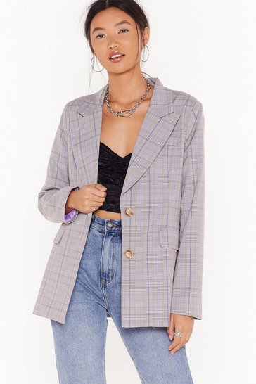 Brown The Morning After Check Oversized Blazer