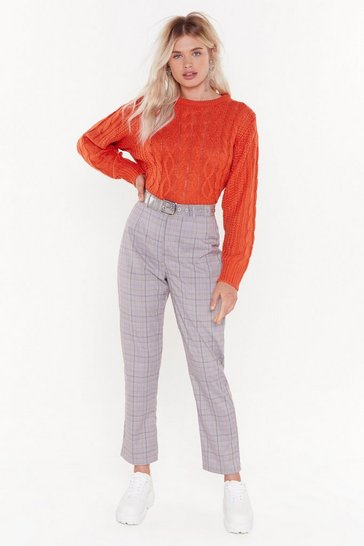 Grandad Check Trousers, Brown, FEMMES