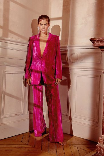 Hot pink You're Losing Your Touch Wide-Leg Velvet Pants