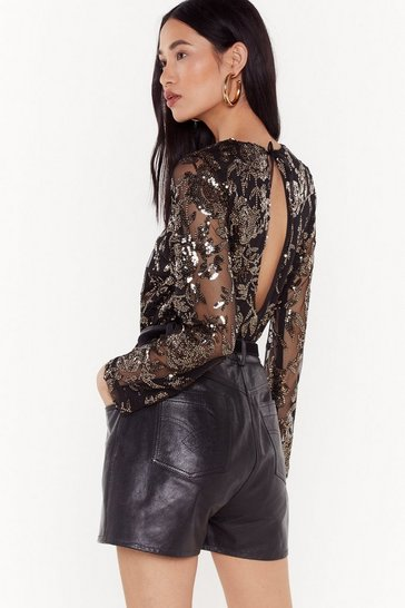 Womens Black Marry the Night Embellished Mesh Blouse