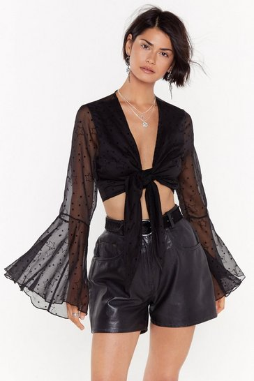 Womens Black Swish Swish Bish Star Mesh Top