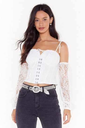 Womens White She's So Cold Shoulder Lace Crop Top