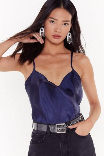 Womens Navy Cowl Me on the Line Satin Cami Top