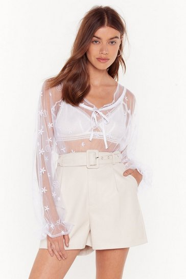 White Mesh Around With Me Tie Embroidered Blouse