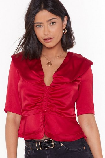 Womens Red We're Not Gonna Satin Button-Down Blouse
