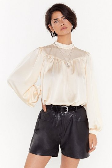Womens Cream Head Held High Neck Satin Blouse