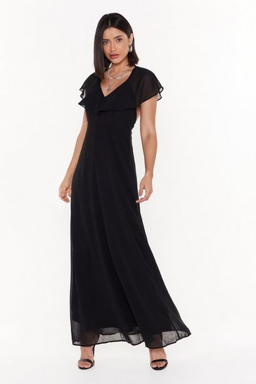 Womens Black Make a Night of It Ruffle Maxi Dress