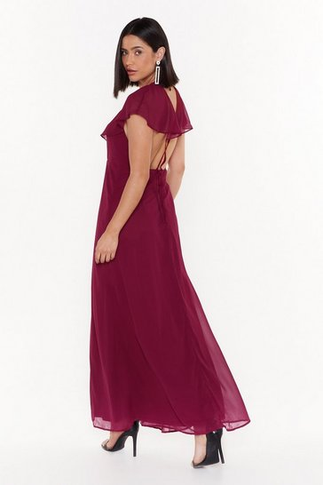 Burgundy Make a Night of It Ruffle Maxi Dress