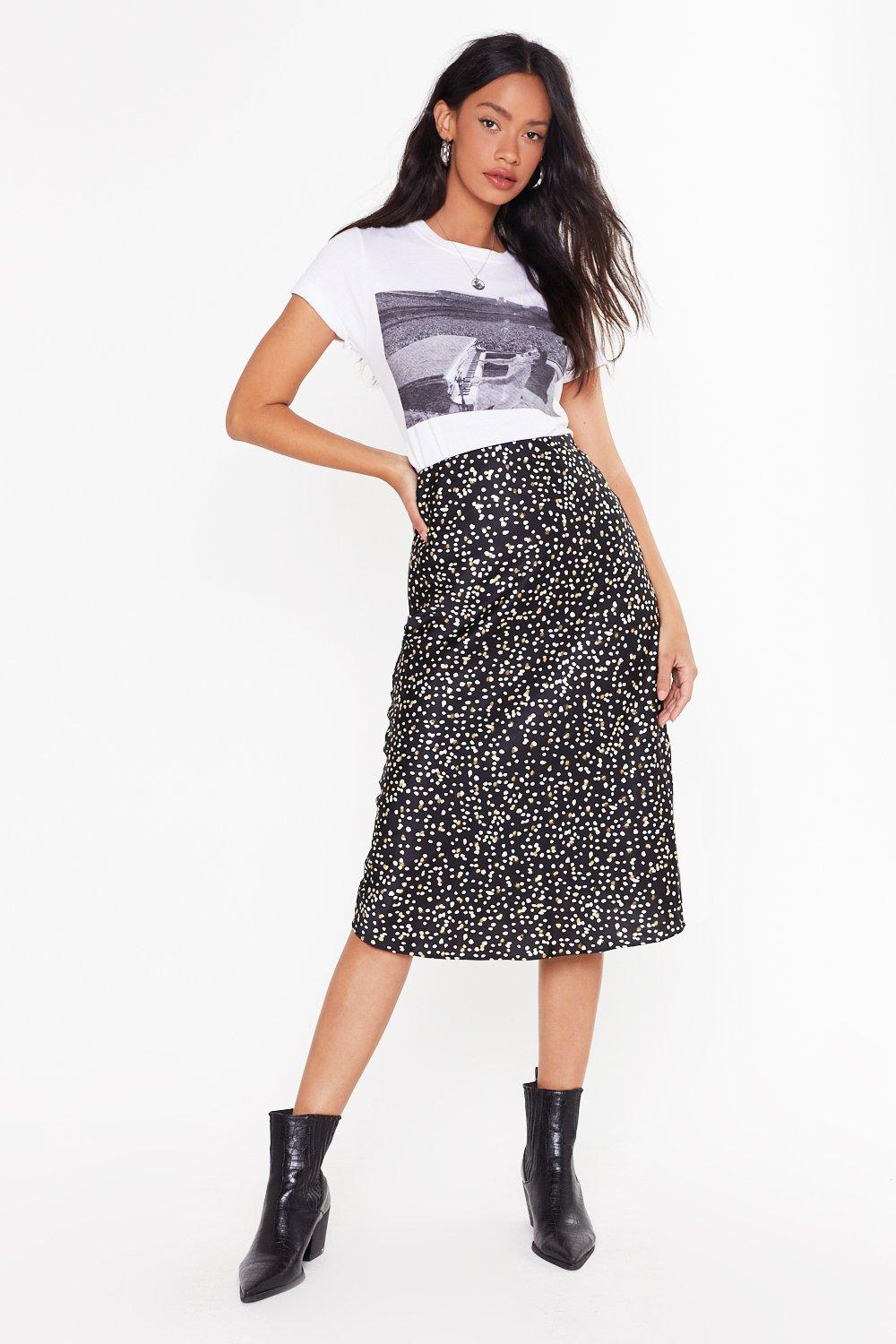 Ready Or Dot Satin Midi Skirt by Nasty Gal