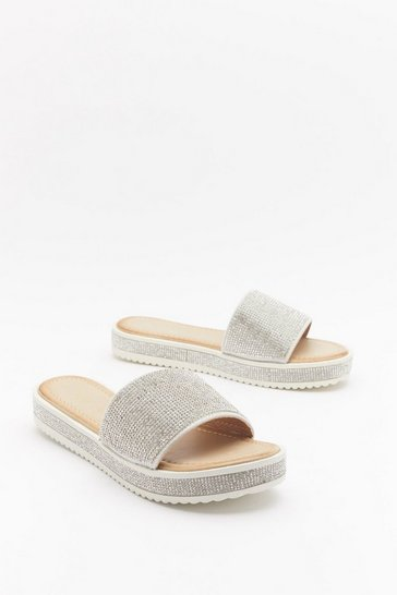 Womens Silver Glitter for Breakfast Diamante Sliders