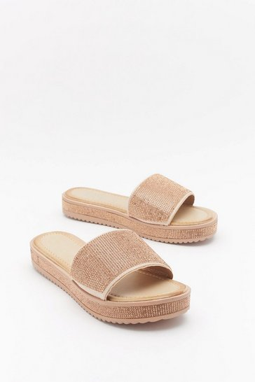 Womens Rose gold Glitter for Breakfast Diamante Sliders
