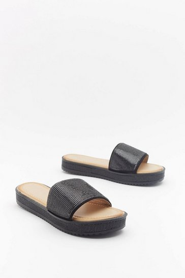 Womens Black Glitter for Breakfast Diamante Sliders