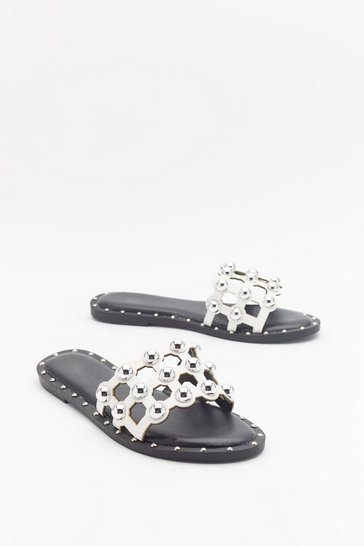 Womens White On the Other Slide Studded Cage Sliders