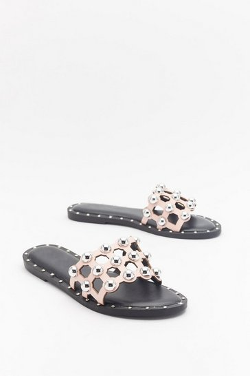 Womens Pink On the Other Slide Studded Cage Sliders