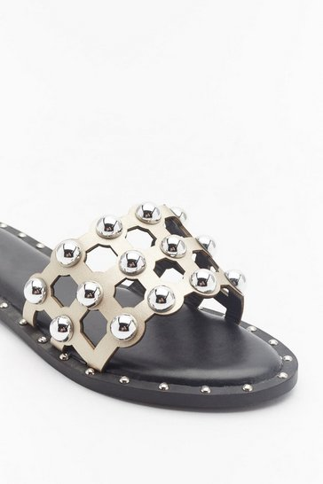 Womens Gold On the Other Slide Studded Cage Sliders