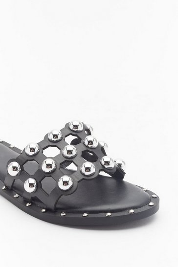 Womens Black On the Other Slide Studded Cage Sliders