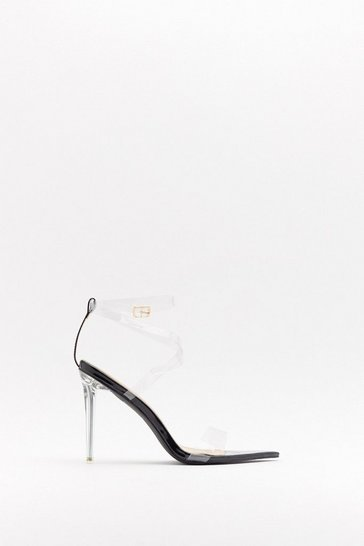 Womens Black Clear Conscience Pointed Perspex Heels