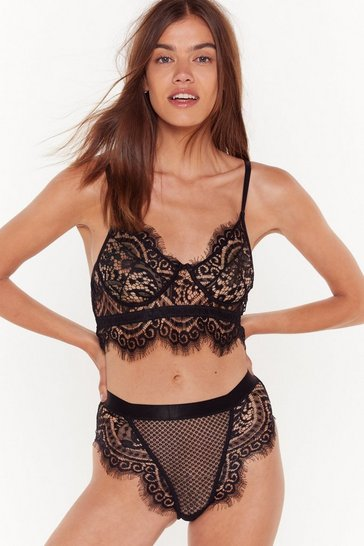 Womens Black Lace to the Top Bralette and Knicker Set