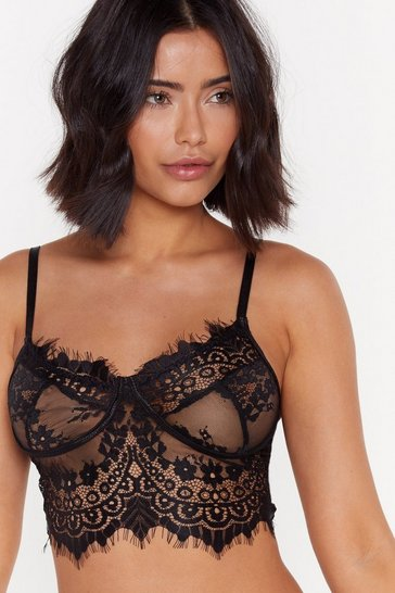 Womens Black Save a Lace for Me Eye Lash Lace Bralette