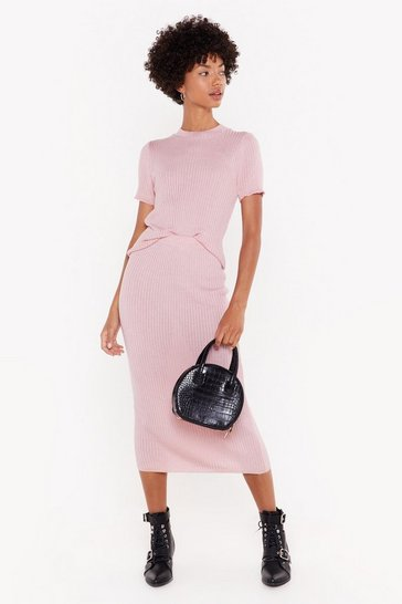 Womens Soft pink Any Way You Like Knit Fitted Midi Skirt