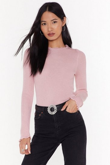 Womens Soft pink You Know the Frill Ribbed Sweater