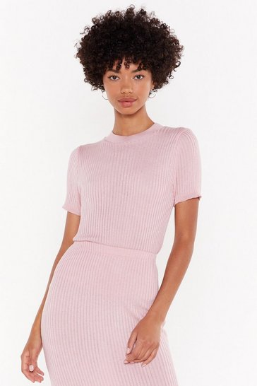Womens Soft pink Any Way You Like Knit Ribbed Top