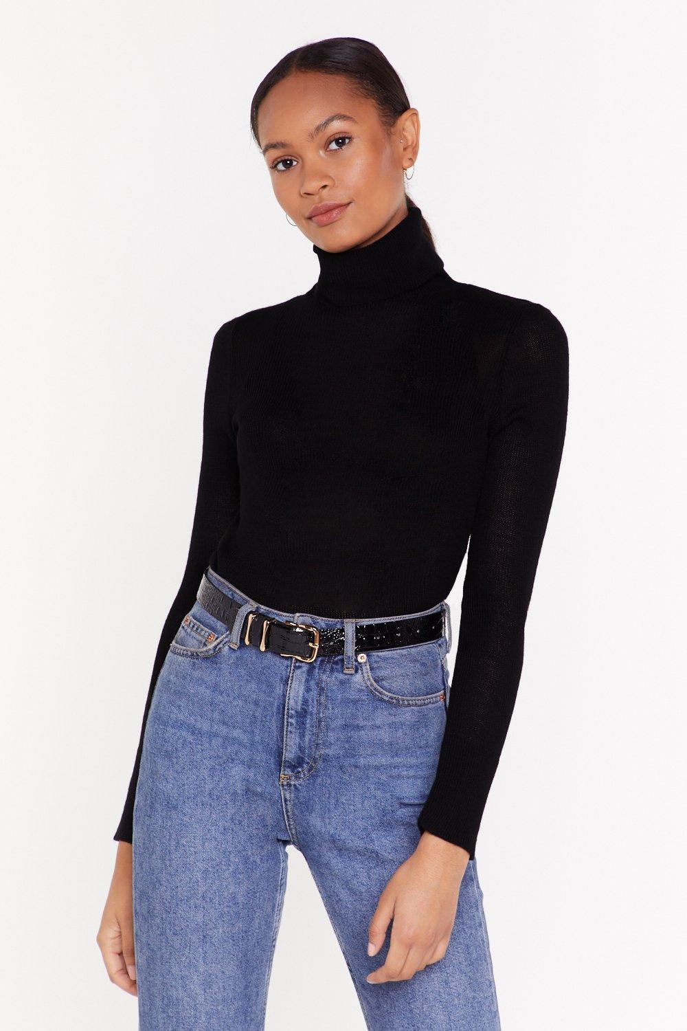 Knit Playing Games Turtleneck Sweater by Nasty Gal