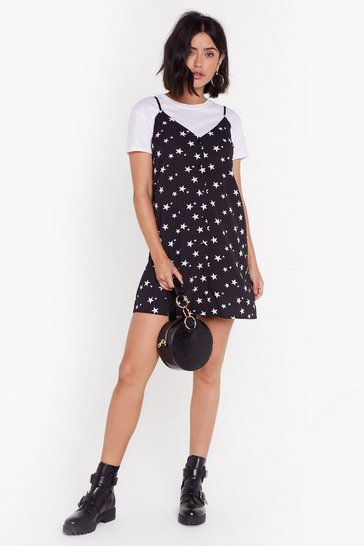 Womens Black Let's Hit the Star Mini Dress