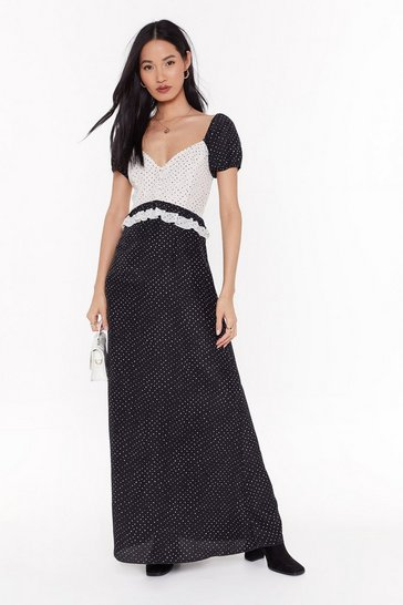 Womens Black Polka Dot Mix Button Maxi Dress