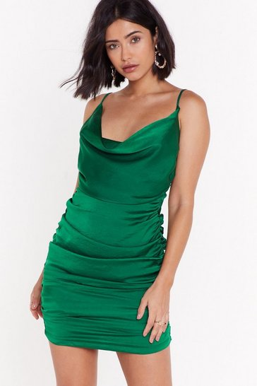 Womens Green On the Cowl Satin Mini Dress