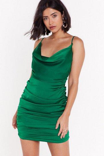Green On the Cowl Satin Mini Dress