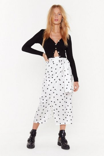 Womens White It's Dot Me Satin Midi Skirt