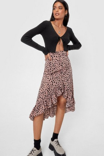 Beige High-Waisted Polka Dot Print Midi Skirt