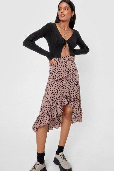 Beige Call It Dot You Want Polka Dot Midi Skirt