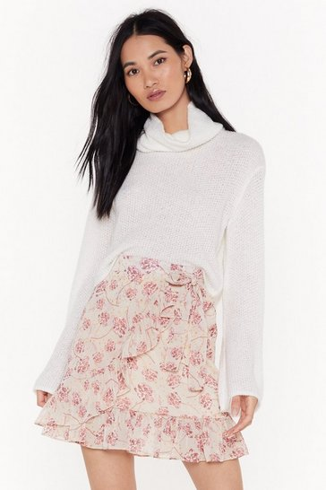 Womens Cream Everybody Hit's the Florals Wrap Mini Skirt