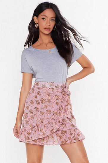Womens Pink Everybody Hit the Florals Wrap Mini Skirt